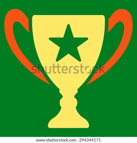 Trophy icon from Competition & Success Bicolor Icon Set. Vector style: flat bicolor symbols, orange and yellow colors, rounded angles, green background.