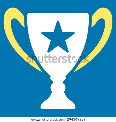 Trophy icon from Competition & Success Bicolor Icon Set. Vector style: flat bicolor symbols, yellow and white colors, rounded angles, blue background.