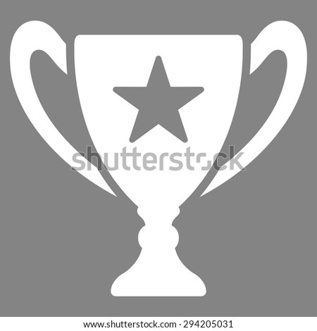 Trophy icon from Competition & Success Bicolor Icon Set. Vector style: flat symbols, white color, rounded angles, gray background.