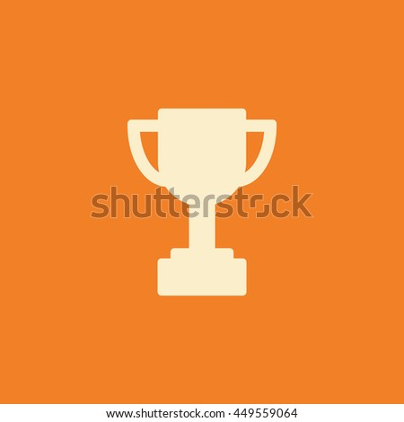Trophy Icon Or Button In Flat Style With Long Shadow Isolated Vector Illustration On Transparent