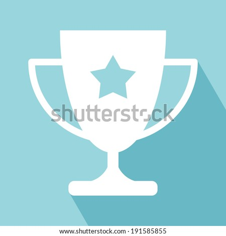 Trophy Icon. Trophy Cup Flat Icon with Long Shadow. Trophy Icon vector isolated on llight blue background. EPS 10 vector illustration for design. All in a single layer. Vector illustration. - stock vector