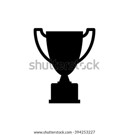 Trophy Icon Silhouette Black Isolated On White Background Simple