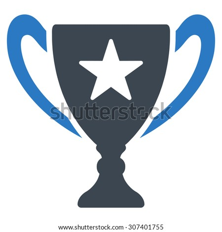Trophy icon. Vector style is flat bicolor symbols, smooth blue colors, rounded angles, white background.
