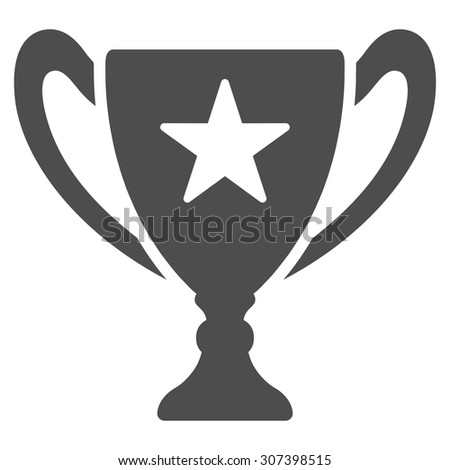 Trophy icon. Vector style is flat symbols, gray color, rounded angles, white background.