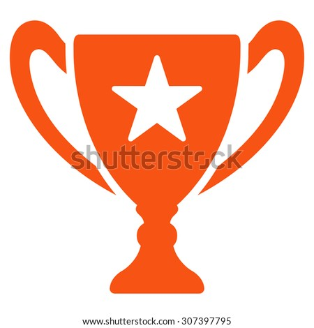 Trophy icon. Vector style is flat symbols, orange color, rounded angles, white background.