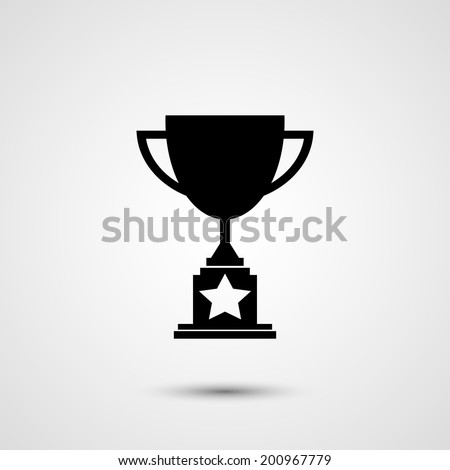 Trophy icon with star silhouette on white background - stock vector