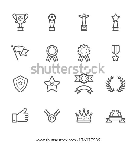 Trophy, Prize and Awards Icons - stock vector