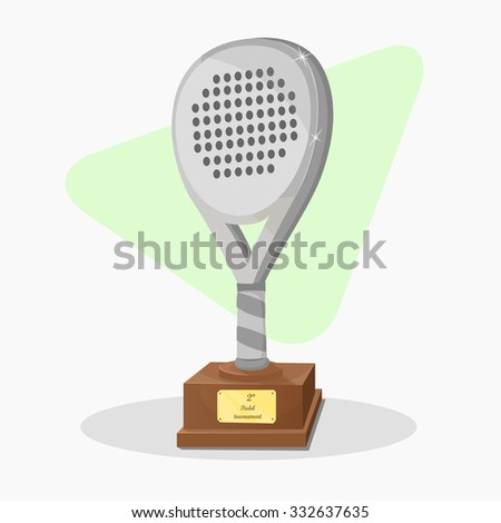 Trophy shaped padel racket. Second prize. Silver Vector. - stock vector
