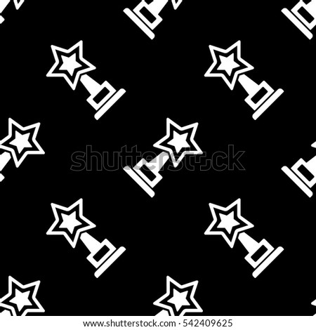 Trophy star cup and award icon seamless pattern, tiling ornament on black. Vector illustration