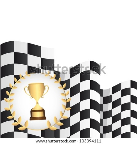 trophy with  checkered flag over white background. vector