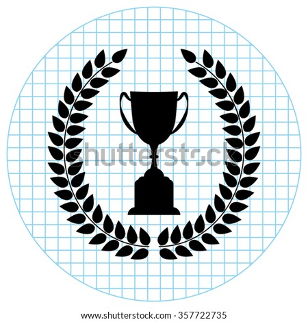 Trophy with Laurel Wreath -  black vector icon