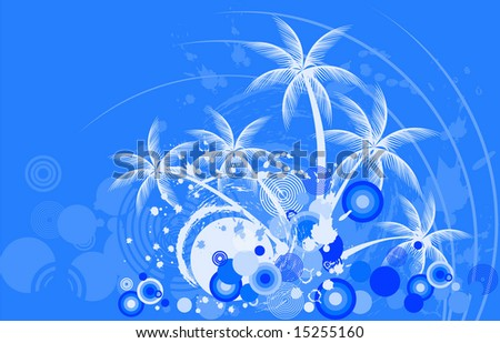 Tropic background night with palm tree - stock vector