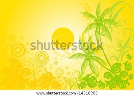tropic background vector - stock vector