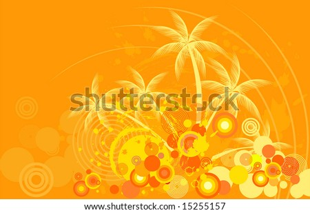 Tropic background with palm tree - stock vector