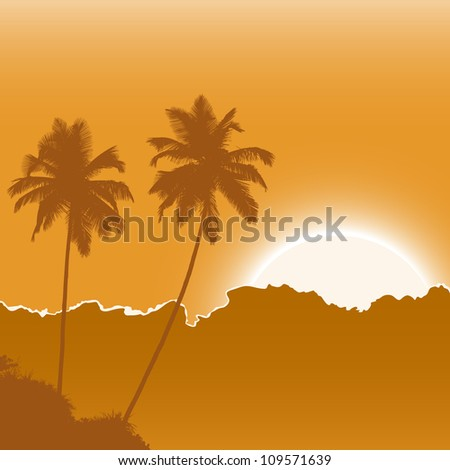 tropic beach palms on the yellow background