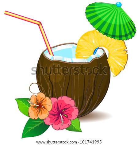 Tropic cocktail pina colada - stock vector