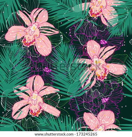 tropic floral background with orchids - stock vector