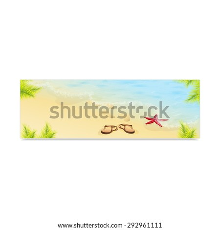 Tropic Island, sand beach and azure sea. Vacation and travel. Concept of advertising banner. Vector, EPS 10 - stock vector