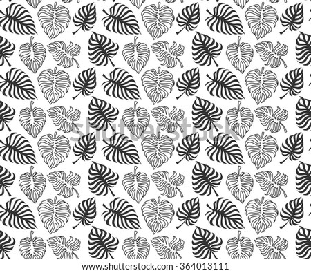 Tropic leaves of monstera on white background. Vector. Seamless pattern - stock vector