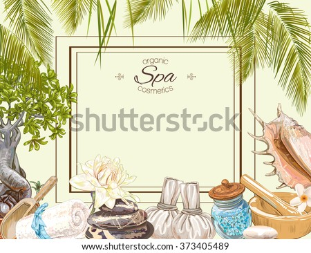 Tropic style spa treatment colorful frame with lotus,shells, frangipani and stones .Design for cosmetics, store,spa and beauty salon,natural and organic health care products. Vector illustration. - stock vector