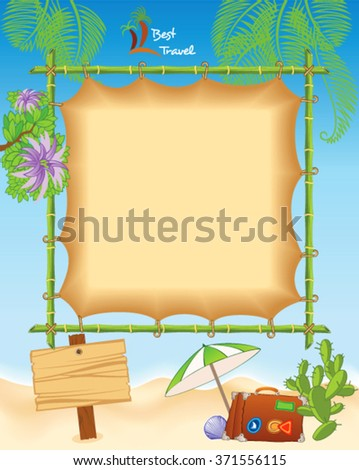 Tropic Travel Template with Bamboo and Palms - stock vector