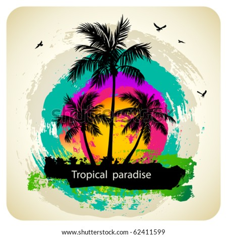 Tropical abstract background - stock vector