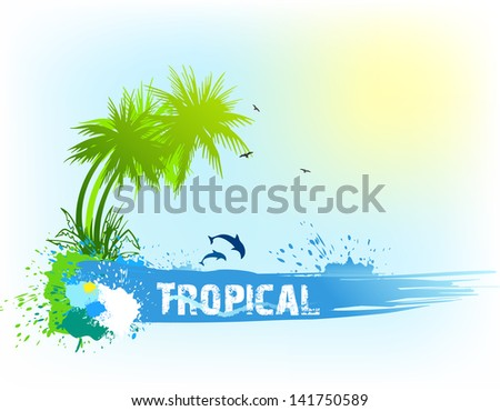 Tropical abstract background. Vector - stock vector