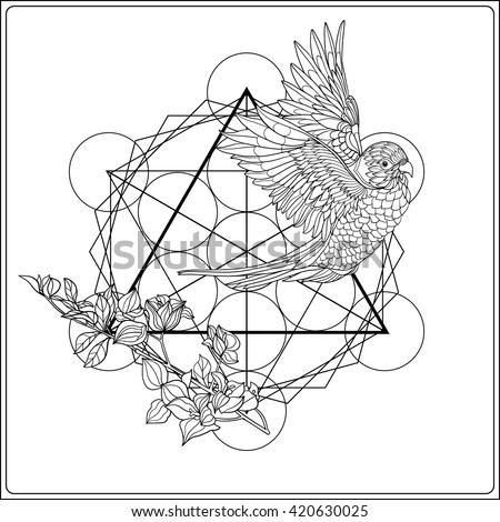 Abstract techno pattern unicorn geometric elements stock Sacred animals coloring book