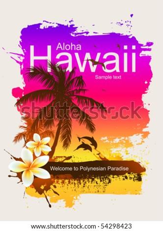 Tropical background. Aloha Hawaii. - stock vector
