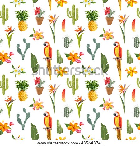 Tropical Background. Parrot Bird, Cactus, Flowers. Seamless Pattern. Vector - stock vector