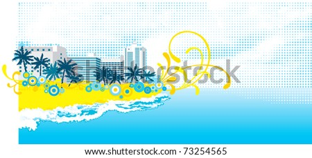 Tropical background. Vector background with tropical palms and floral elements on abstract hotel buildings. - stock vector