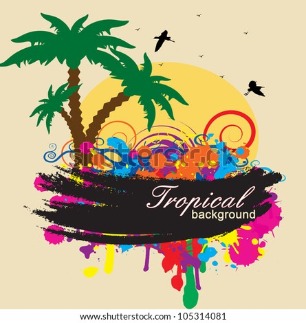 Tropical background with circles and splash in rainbow colors, vector illustration