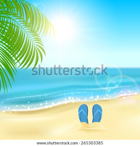Tropical background with flip flops on the sandy beach, Sun, sparkling ocean and palms, illustration. - stock vector