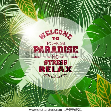 Tropical Background with Leaves of Exotic Plants. - stock vector