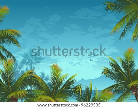 Tropical background with palm trees and birds - stock vector