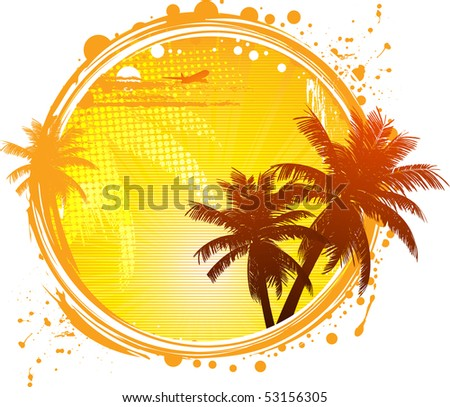 Tropical background with palm trees, plane and halftone detail in a grunge circle
