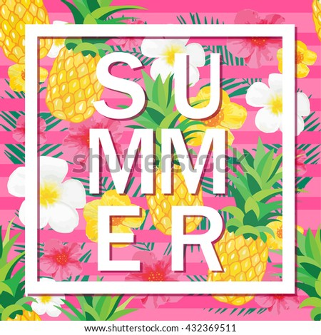 Scratch off lottery card ticket vector stock vector 503494915 tropical background with pineapple exotic flowers summer word vector illustration for banner sciox Gallery