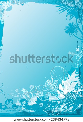 Tropical background with sketchy styled hibiscus flowers and palm trees. - stock vector