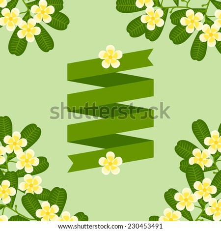 Tropical background with stylized plumeria flowers and ribbon. - stock vector
