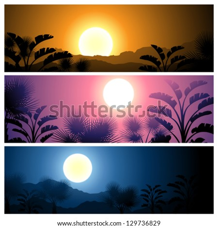 Tropical banners set landscape, sun, moon and palm trees. - stock vector