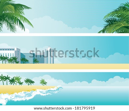 Tropical banners. Vector background with tropical palms and  hotel buildings on the sea coast - stock vector