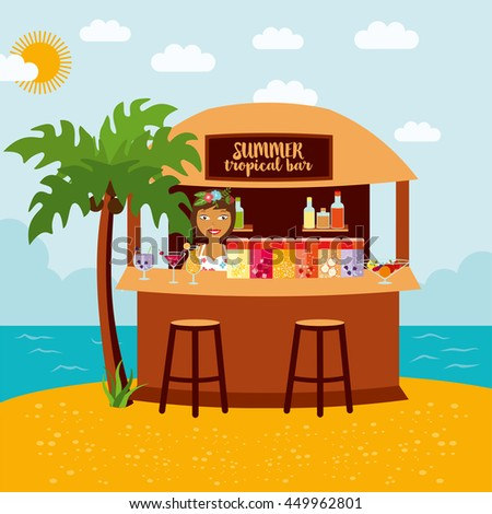 Tropical bar on a beach. Fresh fruit and alcohol cocktails on the sea, palm tree and water,  colorful cartoon illustration. Barista with variety summer drinks at the counter.