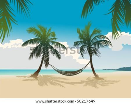 Tropical beach, coconut palms, hammock - stock vector