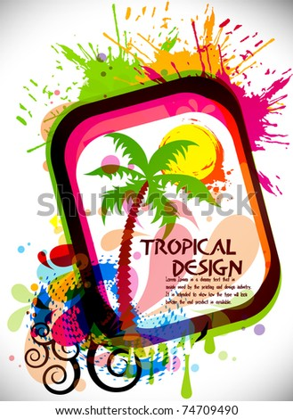 Tropical beach party background with circles and splash, Editable Illustration