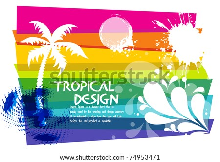 Tropical beach party background with circles and splash, Editable Illustration - stock vector