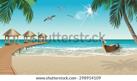 Tropical beach with bungalows and boat - stock vector