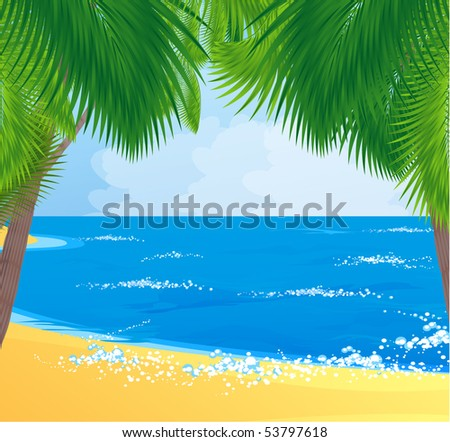 Tropical Beach with coconut palm trees. Vector. - stock vector