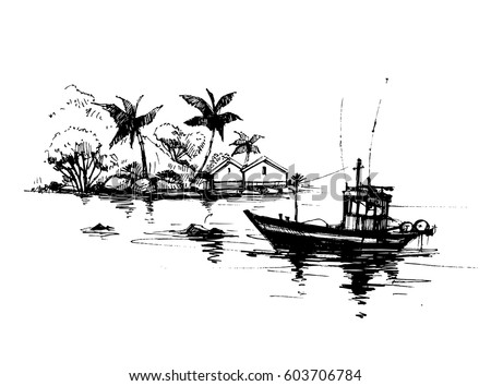 Tropical Beach With Palm Trees Bungalow And Fishing Boat Hand Drawn Sketch Vector