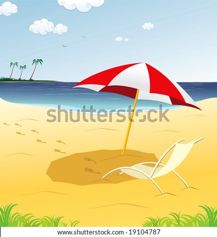 tropical beach with track on the sand - stock vector