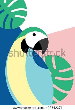 Tropical bird in abstract geometric style: blue macaw parrot - stock vector